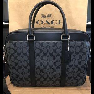 NWT Authentic Coach Signature Slim Briefcase